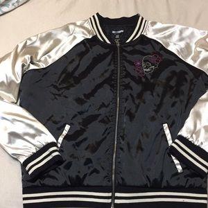 Hot Topic Sz XL Embroidered satin bomber jacket